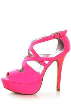 9fc848864a36 Qupid Glitter 113 Neon Pink Lycra Strappy Platform Pumps at Lulus.com! Cute  Shoes