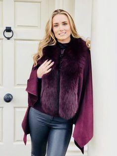 Pure Cashmere Cape Patricia K Pritchard 'Rachel' Cashmere Cape, Fox Fur, Your Style, Fur Coat, Glamour, How To Wear, Jackets, Etsy, Crafts