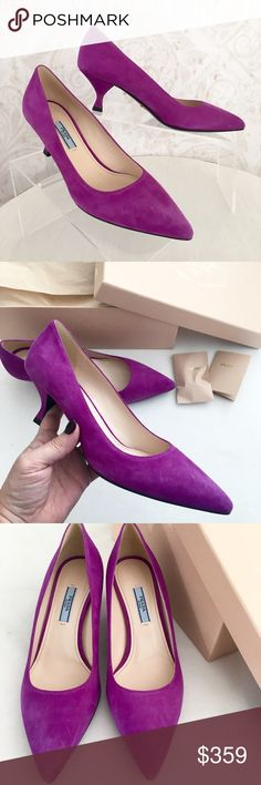 "Violet suede Prada ""Calzature Donna"" pumps GORGEOUS violet suede pump. Feminine, sexy shape with pointed toe and low sculptural heel. The softest, most beautiful premium suede you've ever seen. ‼️Marked EU size 39--I wear a solid USA 8.5 and these are a little tight on me. IMO, they'd fit an average size 8 or a narrow 8.5 best, but please know your Prada size before purchasing.‼️ Brand new--in original box with booklet and extra heel taps. Never worn. Prada Shoes Heels"