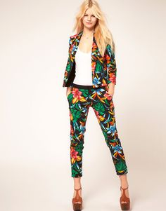 Tropical printed trousers