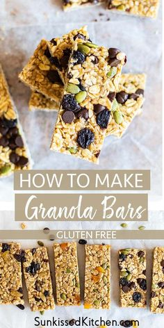 healthy no bake, vegan granola bar recipe. Try this granola bar recipe as a base, and add in your favorite flavors! Chocolate chip granola bars, coconut granola bars, or oatmeal raisin granola bars. Vegan Granola Bars, Oatmeal Bars Healthy, No Bake Oatmeal Bars, Chocolate Chip Granola Bars, No Bake Granola Bars, Homemade Granola Bars, Oatmeal Cookie Recipes, Healthy Dessert Recipes, Healthy Foods