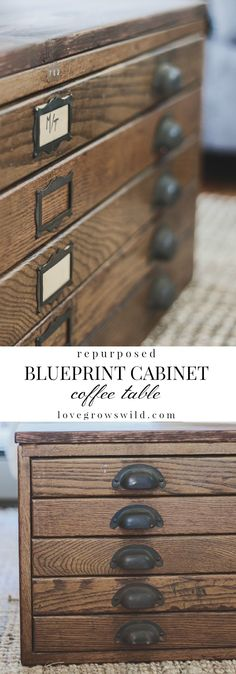 Repurposed Blueprint Cabinet Coffee Table - See how this antique blueprint file cabinet gets transformed into a beautiful coffee table at LoveGrowsWild.com