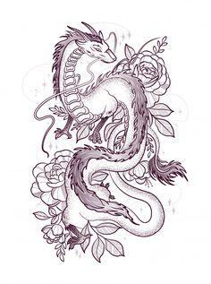 Beautiful dragon among big roses Premium. Dragon Tattoo With Flowers, Cute Dragon Tattoo, Cute Dragon Drawing, Dragon Tattoo For Women, Dragon Tattoo Designs, Dragon Tattoo Drawing, Dragon Thigh Tattoo, Dragon Sleeve Tattoos, Tattoo Design Drawings