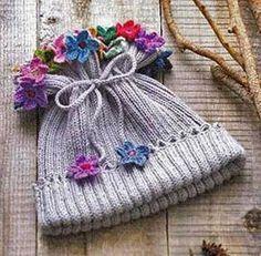 Knit Hat, Crochet Flowers