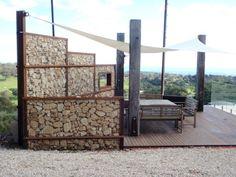 Patio with gabion walls
