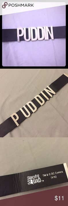 Harley Quinn Choker - PUDDIN Official suicide squad merch - black puddin choker. Length is adjustable. Worn twice, great condition! Some folds (see photos) Hot Topic Jewelry Necklaces