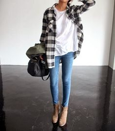 Flannel with Skinny Jeans and Handbag