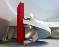 Staircase in the Niemeyer Centre, designed by Oscar Niemeyer, in Aviles, Spain