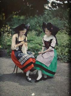 Germany: Georges Chevalier photographed sisters Hélène and Denise Lauth in Alsace during the summer of 1918 just months before the region declared independence from Germany, only to be occupied later by France. - collection albert kahn - pin by @ChansLauPeople