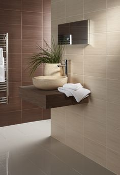 Willow neutral matt cream ceramic wall tile with a soft line pattern by British Ceramic Tiles BCT. Code Use as a Bathroom wall tile. Beige Tile Bathroom, Dark Brown Bathroom, Ceramic Tile Floor Bathroom, Grey Wall Tiles, Room Wall Tiles, Bathroom Flooring, Kitchen Tiles, Bathroom Wall, Roman Bathroom