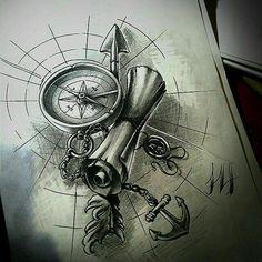 Bússola flecha mapa e âncora