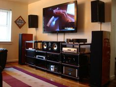 Photo of dexie home entertainment, dexie home entertainment picture, dexie Small Home Theaters, Home Theater Installation, Tv Decor, Home Decor, Home Theater Setup, Modern Basement, Audio Room, Rack, Building A New Home