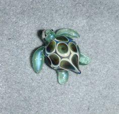 Lampwork Boro Glass Pendant - Focal Bead - Small SEA TURTLE green on Etsy, $42.54