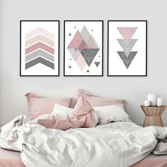 Lovely new pink and grey geometric printable set of 3 just in. Perfect for that … Lovely new pink and grey geometric printable set of 3 just in. Perfect for that pink bedroom 💞 Pin: 1093 x 1093 Pink Gray Bedroom, Grey Bedroom Decor, Modern Nursery Decor, Pink Bedrooms, Pink Room, Bedroom Sets, Modern Bedroom, Bedroom Prints, Pink And Grey Room