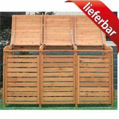 2 x 120 - 240 liter mülltonnenbox holz cubus - fsc hartholz natur, Moderne