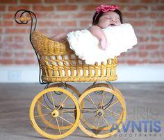 baby newborn vintage stroller photography