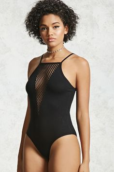 Ribbed Mesh-Insert Bodysuit