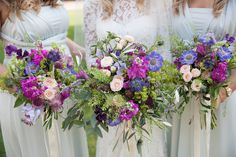 Rustic summer bride and bridesmaids bouquets for festival inspired wedding at Northbrook Park. Flowers created by Eden Blooms Florist from Lilac Scabious,Flowering Mint, Nigella Pods, Deep Pink Astrantia, Raspberry Stock, Lilac Sweetpea, Bombastic Spray Rose, Olive, Nigella, Green Bell, Alchimilla Mollis & Eucalyptus. Image by www.kerryannduffy.com