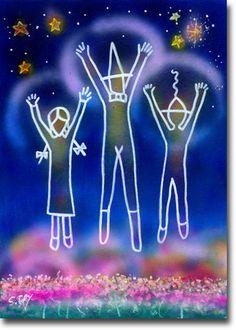 新月紫紺大作の子供部屋に飾る絵 タイトル「幸せのジャンプ」