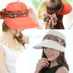 Women'S Anti-Uv Fashion Wide Brim Summer Beach Cotton Sun Outdoor Hiking Hat