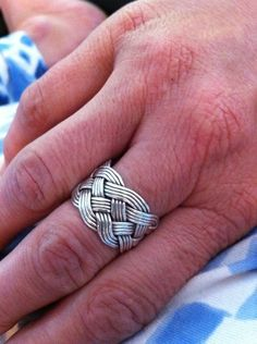A Turk's Head Knot Ring~  This one is a five-lead, 9-bight ring 4 times around.  $300