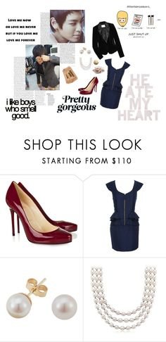 """Wake Up, the Frenzy has arrived"" by tastelikelove ❤ liked on Polyvore featuring Christian Louboutin, Temperley London, Other, Blue Nile, DAY Birger et Mikkelsen, velvet, red pumps, pearls, t.o.p. and navy blue"