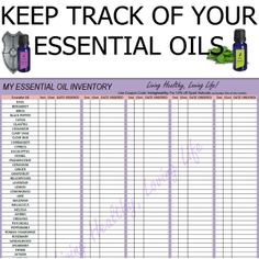 Printable Essential Oil Charts | My Essential Oil Inventory List