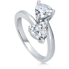 BERRICLE Sterling Silver 1.86 ct.tw CZ Bypass Heart Fashion Right Hand... ($43) ❤ liked on Polyvore featuring jewelry, rings, clear, women's accessories, sterling silver cz rings, heart band ring, cubic zirconia band rings, sterling silver heart ring and cocktail rings