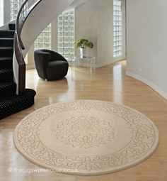 Royale Beige Circle Rug - Fabric 100% Wool - A deep and soft pile with an intricate design purely hand-carved onto the surface.  From £59.00