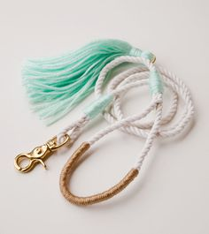 The wedding leash. Nautical dog leash made from 3 strand cotton rope, accented with mint and gold.