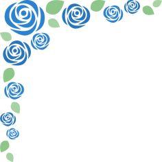 [父の日]青いバラのコーナーフレーム飾り枠イラスト