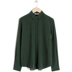 1e89a02b0f1ea Other Stories Dark Green Straight Fit Silk Shirt - Meghan Markle s Tops