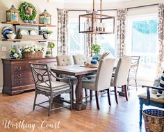 Youngsters Area Home Furnishings Farmhouse Style Breakfast Nook Decorated For Summer With Blue And Green Accents Worthing Court Farmhouse Style Kitchen, Farmhouse Decor, Country Decor, Coffee Bars In Kitchen, Summer Centerpieces, Kitchen Nook, Breakfast Nook, House Tours, Room Decor