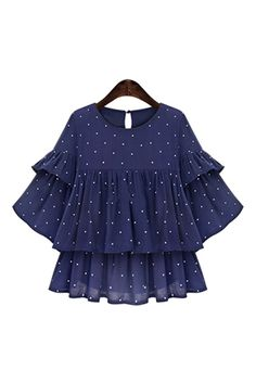 Goodnight Macaroon presents the 'Lucille' Blue Dotted Layered Sleeve Ruffle Top from our Spring / Summer 2017 Collection. Girls Dresses Sewing, Stylish Dresses For Girls, Frocks For Girls, Stylish Dress Designs, Designs For Dresses, Dresses Kids Girl, Girls Frock Design, Kids Frocks Design, Baby Frocks Designs