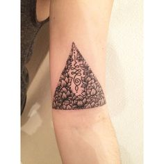 unalome and lotus flower triangle tattoo