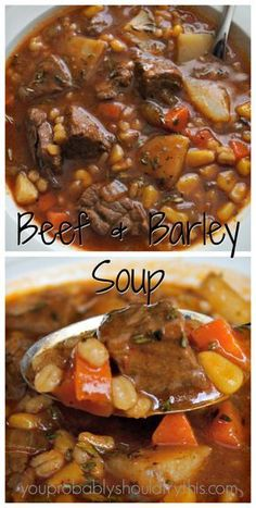 Hearty, satisfying, and soul warming. This soup will help you survive a seemingly endless winter. Hearty Beef & Barley Soup Yield: 8 servings Prep: 15 minutes Cook: Stovetop- 1.5 hr, Crockp… Beef Soup Recipes, Healthy Diet Recipes, Slow Cooker Recipes, Cooking Recipes, Healthy Soup, Recipes Dinner, Easy Recipes, Crockpot Beef Barley Soup, Vegetable Beef Barley Soup