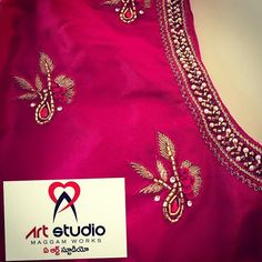 51 New Ideas For Embroidery Designs Fashion Clothing Style Hand Work Blouse Design, Simple Blouse Designs, Blouse Designs Silk, Dress Neck Designs, Bridal Blouse Designs, Embroidery On Kurtis, Kurti Embroidery Design, Embroidery Fashion, Embroidery Patterns