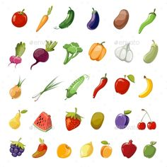 Cartoon fruit and vegetables organic healthy. Vector icons collection of fruit cherry, pomegranate and kiwi. Set of vegetables egg