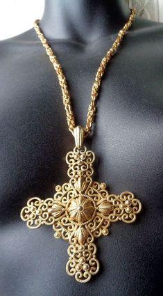 Crown Trifari Vintage HUGE Gold-Tone Maltese Cross Pendant Necklace #Trifari #Pendant