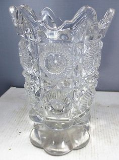 Pattern Glass Vase With Panels, Circles & Diamonds