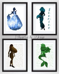 OMG. I NEED 20! Disney Princess Silhouette Art by EdmondsonbyDesign on Etsy, $18.00