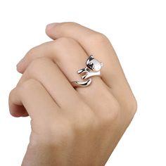 Di alta qualità placcato argento cat anello di apertura delle donne dei monili di modo romantico ballo ipoallergenico GSZW0105