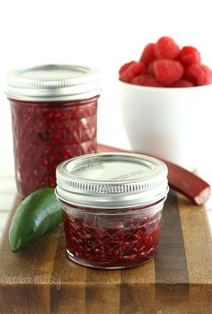 Small batch Raspberry Rhubarb Jalapeno Jam may sound crazy, but it's crazy good. Sweet and spicy with no pectin required.
