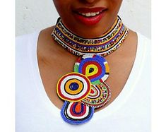 Maasai Beaded Statement Jewelry for the head-turners by AfricaZuri African Bracelets, African Earrings, African Beads, African Jewelry, Beaded Statement Necklace, Tribal Necklace, Unusual Jewelry, Unique Necklaces, Fashion Jewelry Necklaces