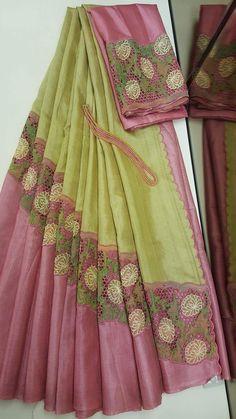 Discover thousands of images about Pastel tussar silk saree from aavaranaa saree . Cotton Saree Designs, Half Saree Designs, Saree Blouse Neck Designs, Bridal Blouse Designs, Indian Silk Sarees, Soft Silk Sarees, Chiffon Saree, Organza Saree, Trendy Sarees
