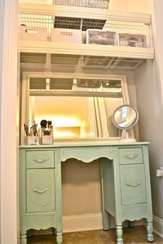 in closet vanity - I have thought about doing this with both my bed and even my desk. I could probably move my desk in there, and then buy a clothing rack to hang shirts where my desk currently is...