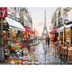 Calle de París Pintura de DIY Por Números Pintados A Mano de Pintura de la Lona sin marco Inicio Wall Art Imagen For Living Room Regalo Único