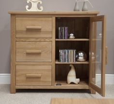Wooden Hi Fi Cabinets With Glass Doors