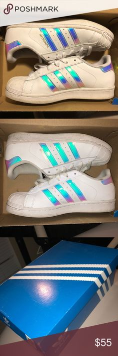 LIMITED EDITION Adidas Holographic Superstars • white adidas shoe  • holographic/iridescent  • LIMITED EDITION, can't be found in stores or online anymore • NO creases! • comes with adidas box adidas Shoes Sneakers