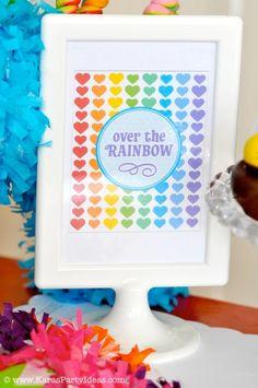 Rainbow Themed birthday party with SO many ideas! Cute printable party pack! Via Kara's Party Ideas KarasParty Ideas.com #rainbow #birthday ...